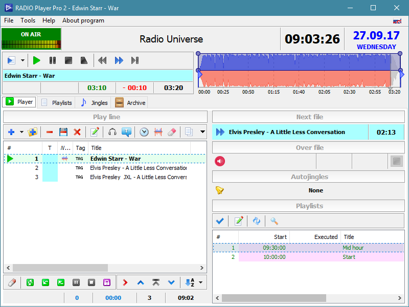 Audio file playback with time-based playlist schedule software.